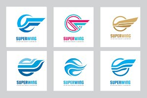 Abstract Wing Vector Logo Set
