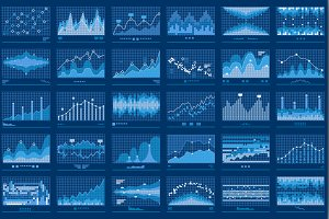 Business Data Financial Charts Blue