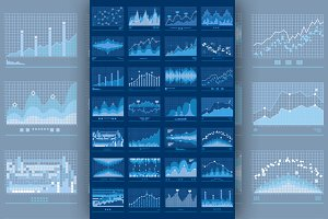 Charts Blue Vector Mobile Background