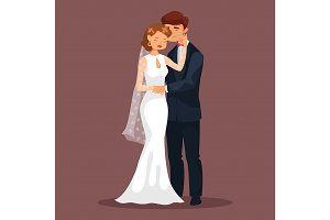 Woman caress her man at wedding, loved couple
