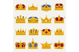 Set of royal king or prince crown, pope tiara