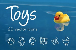 TOYS - vector line icons