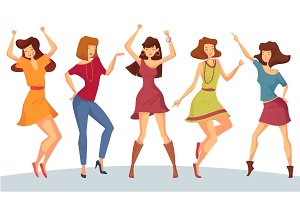Set of woman or girl dancing at party or disco