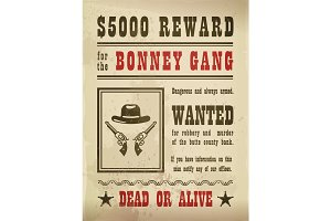 Guns and hat on wanted sign or wild west banner