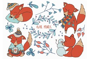 Cute Foxes Winter Woodland Clipart