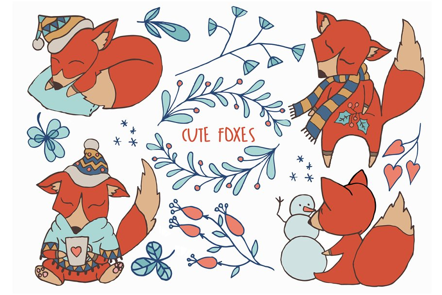 Winter woodland. Cute foxes clipart