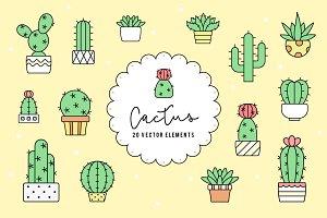 20 Cactus vector elements