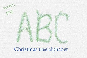 Christmas tree vector alphabet