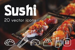 SUSHI - vector line icons