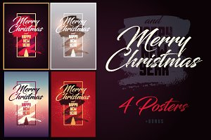 Calligraphic Christmas posters.