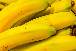 Fresh banana yellow background