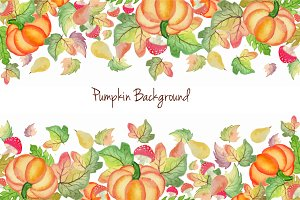 Pumpkin Watercolor Background