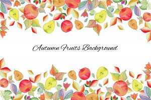 Autumn Fruits Background Watercolor