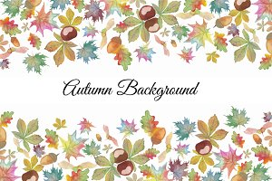 Autumn Background Watercolor