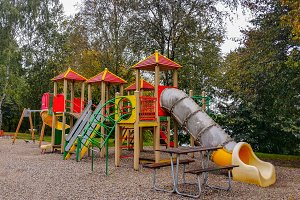 Colorful children playground activities in public park