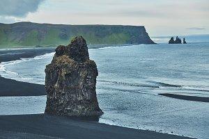 Kirkjufjara black sand beach, southern Iceland.
