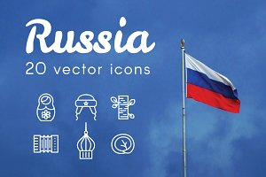 RUSSIA - vector line icons