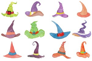 Watercolor witch hat Collection