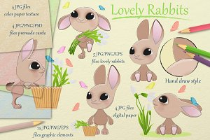 Lovely rabbits collection. Easter.