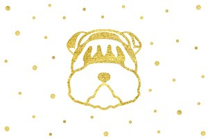 Gold Dog Head Happy New Year 2018