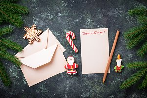 Christmas background. Letter  for Santa and gingerbread cookies