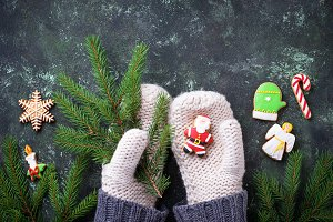 Hands in mittens holding Christmas gingerbread cookies