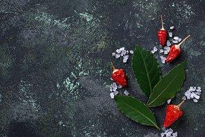 Sea salt, red pepper and bay leaf.