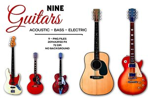 9 Guitars -Basso, Electric, Acoustic