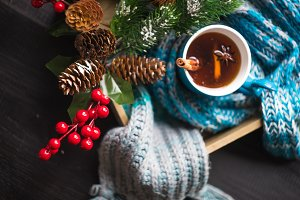 Cup of tea in Christmas concept