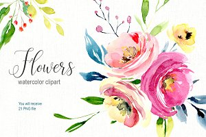 Watercolor bright flowers collection