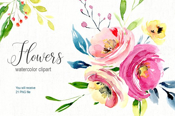 Watercolor bright flowers c-Graphicriver中文最全的素材分享平台