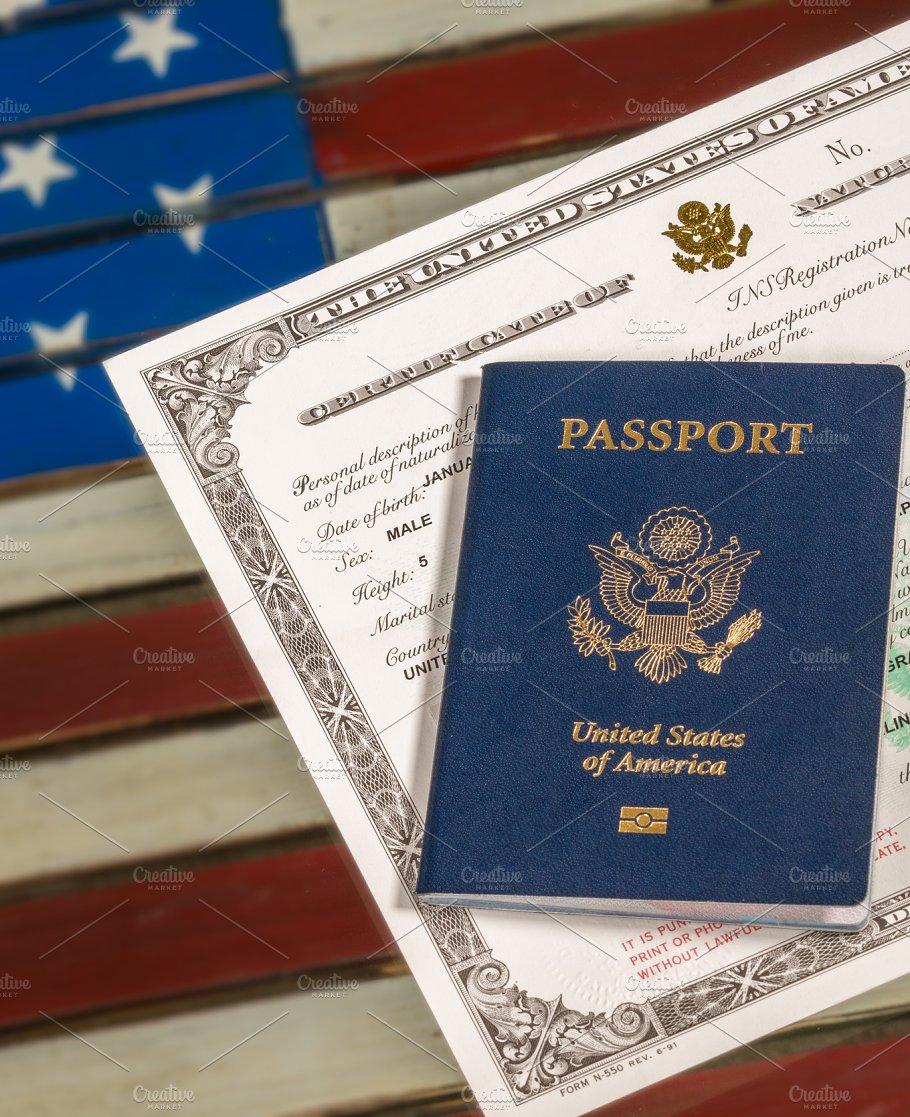 Usa passport and naturalization certificate over us flag usa passport and naturalization certificate over us flag transportation 1betcityfo Choice Image