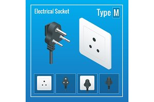 Isometric Switches and sockets set. Type M. AC power sockets realistic illustration. Power outlet and socket isolated. Plug socket.
