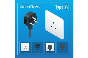 Isometric Switches and sockets set. Type G. AC power sockets realistic illustration. Power outlet and socket isolated. Plug socket.