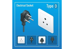 Isometric Switches and sockets set. Type D. AC power sockets realistic illustration. Power outlet and socket isolated. Plug socket.