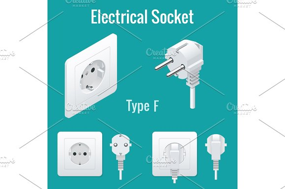 Isometric Switches And Sockets Set Type F Realistic Vector Illustration
