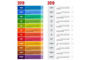 Yearly Wall Calendar Planner Template for 2019 Year.