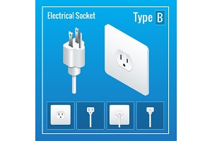 Isometric Switches and sockets set. Type B. AC power sockets realistic illustration