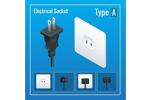 Isometric Switches and sockets set. Type A. AC power sockets realistic illustration
