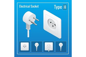 Isometric Switches and sockets set. Type H. AC power sockets realistic vector illustration