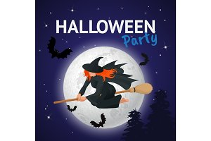 Witch flying on a broomstick across full moon at twilight for Halloween