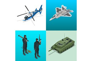 Isometric icons helicopter, aircraft, tank, soldiers