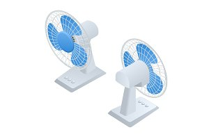 Isometric small Fan. Home climate equipment icon