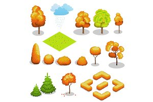 Isometric vector autumn tree set.