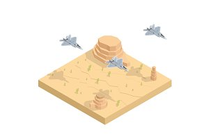 Isometric Military airplane at flying