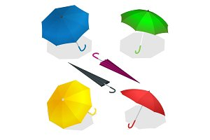 Isometric umbrellas in various positions open and folded
