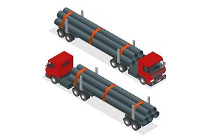 Isometric Truck tractor with flatbed trailer hauling pipe