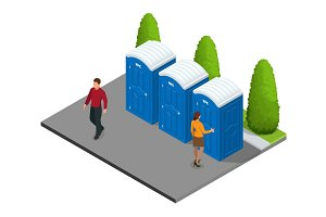 Isometric Bio mobile toilets in the city.