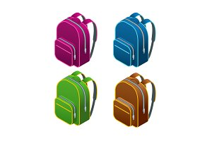 Isometric school bag.