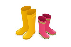Isometric yellow and pink rubber boots
